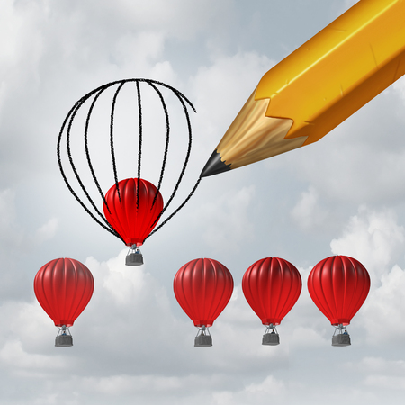 backing: Make things better and improvement concept as a group of competing air balloons as one individual winer is helped by a pencil drawing a bigger shape resulting in an advantage with 3D illustration elements. Stock Photo