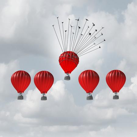 グループ ヘルプ概念の競争力とビジネス活用概念 3 D イラストレーション熱気球レースの上に鳥の群れに助けられ、個々 の指導者のグループとして