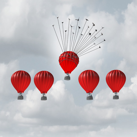 advantages: Group help concept competitive edge and business advantage concept as a group of 3D illustration hot air balloons racing to the top but an individual leader helped by a flock of birds lifted highest. Stock Photo