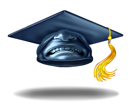 mortar cap: Education failure and horrible teaching symbol as a graduation hat or mortar cap with an expression of disgust as a learning challenge metaphor as a 3D illustration. Stock Photo