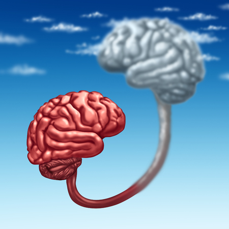 backups: Upload to the cloud as a human organic mind uploaded to a virtual server in digital space as a futuristic technology concept and metaphor with a 3D illustration organ connected to a wireless database.