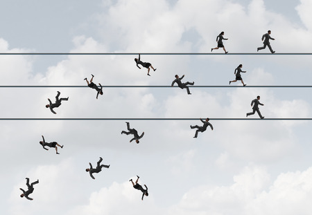personas corriendo: concepto carrera de negocios y corporativos de vida o muerte como símbolo de un grupo de hombres de negocios que se ejecutan en una cuerda floja con los perdedores y los ganadores caer ganadora como una metáfora de la competencia carrera con elementos de ilustración 3D.