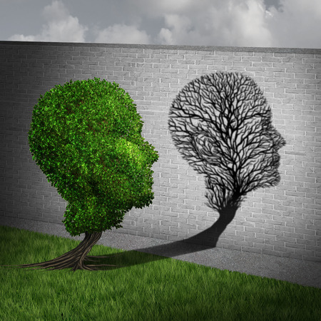 frail: Feeling sick and sickness concept as a full green tree casting a shadow on a wall shaped as an empty plant with only branches as a health symbol of human disease and illness in a 3D illustration style. Stock Photo
