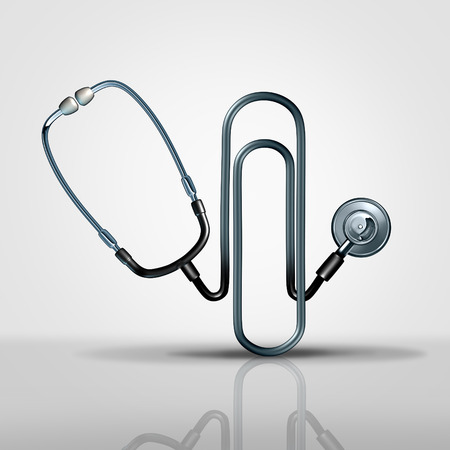 Medical office management health care administration concept as a 3D illustration stethoscope shaped as a business paperclip or paper clip as a hospital or doctor file and records administrative icon.