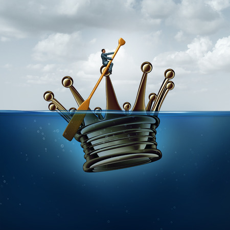 navigating: Leadership management strategy concept as a ceo rowing a giant 3D illustration king crown in water as a business and financial metaphor for navigating and providing guidance in a crisis.