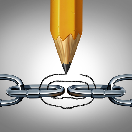 Concept of strength as a disconnected chain with a pencil drawing a link to unite the 3D illustration object as a business concept of connection and creative team management.
