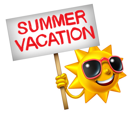summer sign: Summer vacation symbol as a hot sun character holding a sign with painted text as a travel icon for relaxing in summertime as a 3D illustration isolated on a white background. Stock Photo