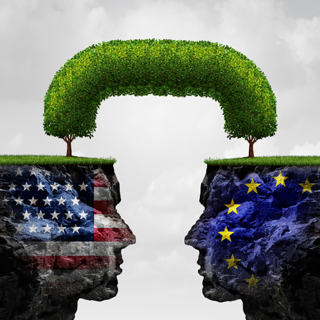 diplomatic: American European partnership and international trade agreement financial concept as two seperate mountain cliffs united together by a connected tree as a global cooperation symbol in a 3D illustration style.