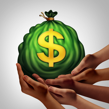 team hands: Community banking group and financial team symbol as hands holding together a bag of money as a finance and crowdfunding metaphor with in a 3D illustration style. Stock Photo