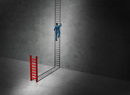 Zakelijk succes verbeelding aspirtations begrip als een zakenman het beklimmen van de lange opwaartse cast schaduw van een kleine ladder als een surrealistische symbool voor creatieve leiding met 3D-illustratie elementen. Stockfoto