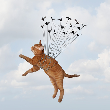 group strategy: Team power concept and uniting together to overcome fear and win as an organization with a common goal as a group of birds lifting a cat that is tied up as a metaphor for teamwork strategy in a 3D illustration style.