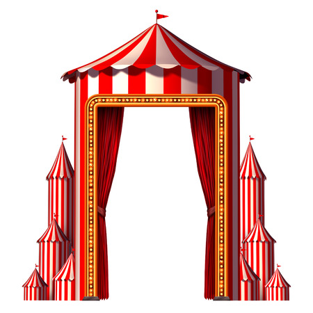 entertainment event: Circus tent concept in a vertical carnival composition as aan entertainment ans amusement symbol for a festive special event celebration with blank space isolated on a white background as a 3D illustration. Stock Photo