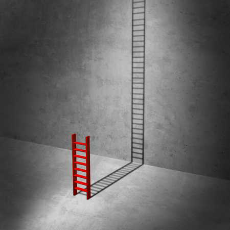 surrealistic: Career potential concept as a business metaphor for imagining success as a symbol for hidden potential as a red ladder casting a long shadow stretching to the top as a 3D illustration. Stock Photo
