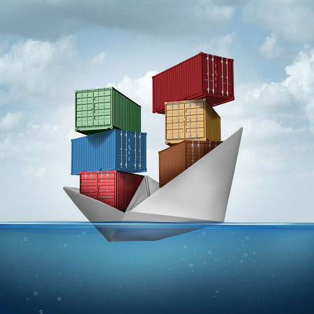 business symbols metaphors: Ocean cargo ship as a container boat transporting heavy freight as a paper vessel carrying shipping containers as a trade and export concept with 3D illustration elements.