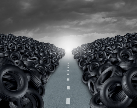 high road: Tire ot tyre landfill automotive transportation concept as a heap of black rubber wheels stacked high with a clear road path as a car transportation symbol with 3D illustration elements.