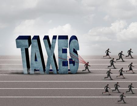 Carico fiscale concetto di business come un contribuente gravato lento tirando una pietra pesante a forma di testo tasse illustrazione 3D come altre persone correre su un percorso