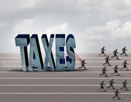 taxman: Tax burden business concept as a slow burdened taxpayer pulling a heavy rock shaped as a 3D illustration taxes text as other people run on a path