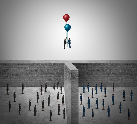 two people meeting: Business success agreement concept as two groups of people divided by a wall with business leaders using balloons to rise above the obstacle as a success metaphor in a 3D illustration style. Stock Photo