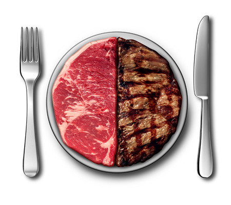cooked meat: Steak dinner barbecue symbol as a bbq place setting with raw meat and grilled sirloin as a before the grill and after being cooked food concept with 3D illustration elements.