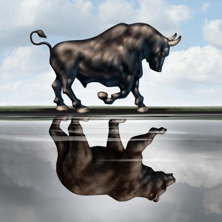 Investeren waarschuwingsborden als financieel beurs metafoor met een stier het creëren van een weerspiegeling in het water van een beer als een economische neergang of recessie voorspeld in een 3D-afbeelding stijl.