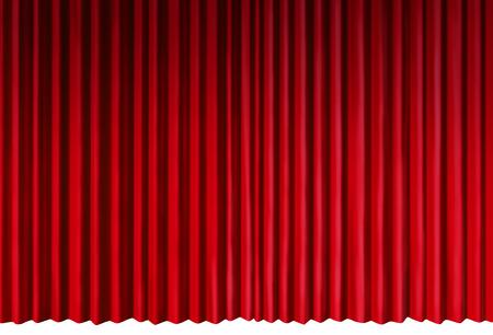 カーテンは、赤いベルベットのカーテン 3 D イラストレーションとして白い背景に分離された演劇的な催し物の段階を表すオブジェクトします。 写真素材