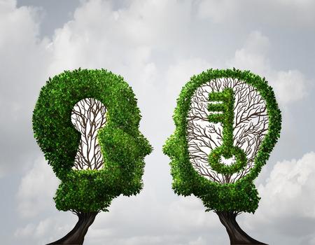 partenariat Solution de trou de serrure et concept clé occasion d'affaires comme deux arbres en forme de tête humaine avec des formes clés et trou de serrure comme une métaphore de la réussite de la collaboration dans un style d'illustration 3D.