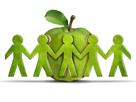care symbol: Group health and community health care or healthcare concept as a green apple with cut out peeled fruit skin shaped as humans holding hands together as a symbol forsociety wellbeing in a 3D illustration style.