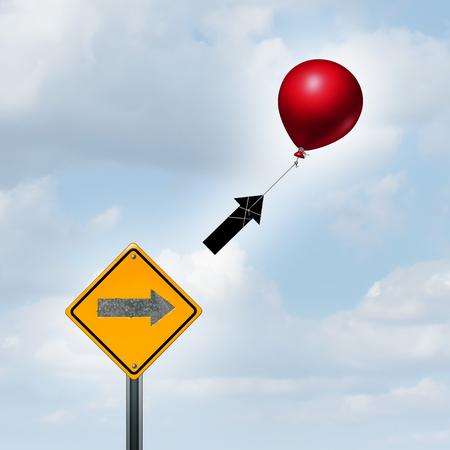 succeeding: Concept of consulting and supportive marketing idea as a balloon lifting up an arrow from a sign as a success metaphor and higher prosperity strategy with 3D illustration elements.