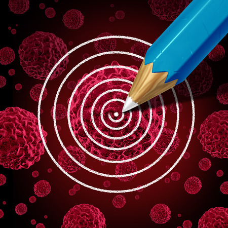 malignant: Targeting cancer medical therapy concept as a pencil drawing a target on a cancerous malignant cell as a disease treatment or cure metaphor to kill the carcinoma in a human body as a 3D illustration. Stock Photo