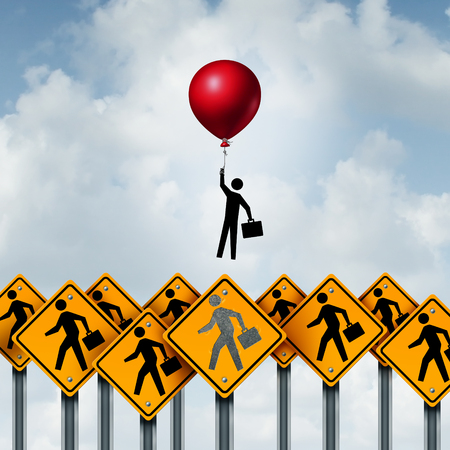 metaphoric: Success business and successful businessperson metaphoric corporate concept as a group of signs with businesspeople and an individual person breaking free with the support of a balloon with 3D illustration elements. Stock Photo