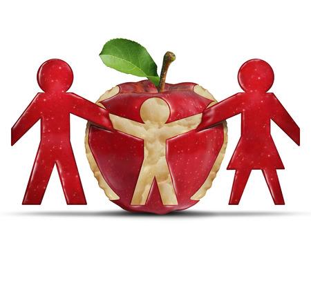 buen vivir: La alimentación saludable y una buena nutrición como un estetoscopio médico con forma de nido de proteger una manzana Granny Smith verde como el cuidado de la salud y el concepto de la medicina para vivir una vida de buena salud y seguro médico.