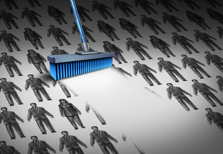 unemployed dismissed: Concept of unemployment and business downsizing symbol as a group of businesswomen and businessmen drawings being swept away by a broom as a symbol for employee reduction with 3D illustration elements.