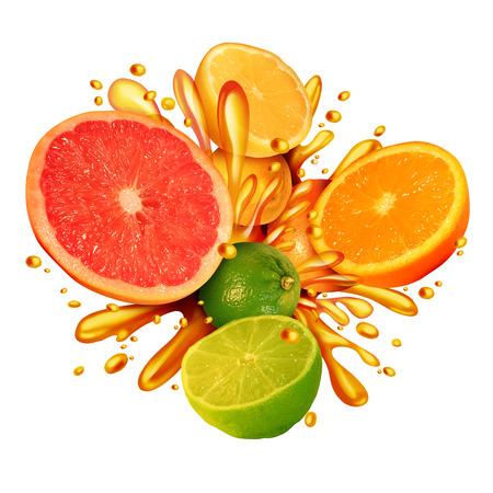 柑橘系の果物は、新鮮なオレンジ レモン ライムみかんとグレープ フルーツ ジュース 3 D イラストレーション スタイルで天然ビタミンの完全有機のジューシーな健康食品を食べて健康的な生活の中で水しぶきのグループとシンボルをスプラッシュします。 写真素材 - 56484322