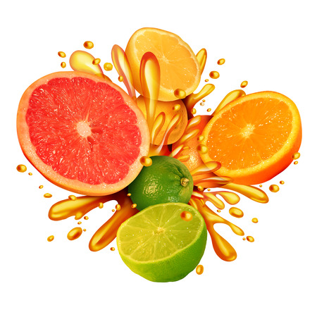 orange juice: Citrus fruit splash symbol with a group of fresh oranges lemons lime tangerines and grapefruit splashing in juice for healthy living eating organic juicy health food full of natural vitamins in a 3D illustration style. Stock Photo