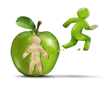 Fitness apple active healthy lifestyle as a green apple with a person shape peeled off the skin of the fruit shaped as a jogger or runner breaking away from the food for wellness and exercise in a 3D illustration style.