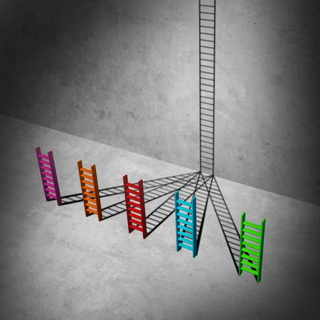 la union hace la fuerza: concepto de negocio de éxito unificación como un grupo de diversas escalas cortas que crean sombras que se combinan entre sí para formar una escalera alta para el éxito como una ilustración 3D. Foto de archivo
