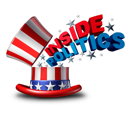 presidency: Inside politics American election and United States of America vote symbol as a USA political news insider journalism symbol as a top hat as a 3D illustration icon on a white background.