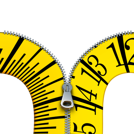 Measuring tape open zipper concept as a tailor or tailoring symbol and diet or dieting measure icon isolated on a white background as a 3D illustration. Stock Photo