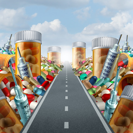 overdose: Medicine and medication concept as a group of pills and prescription drugs on a road to a light as a health care metaphor for medicinal medical treatment solution from a doctor with 3D illustration elements. Stock Photo