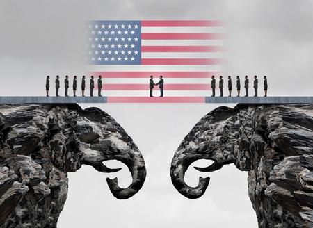 pacto: acuerdo conservadora estadounidense y el concepto de la reconciliación republicano como dos acantilados de la montaña en forma como un símbolo del elefante unirse como un símbolo accoprd política estadounidense como una ilustración 3D.
