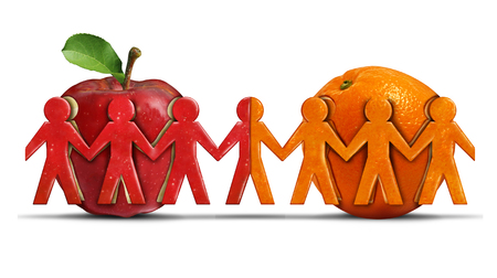 coming together: Apples and oranges as a tolerance and friendship symbol for two different groups shaped as people icons coming together as a diverse team in a 3D illustration style.