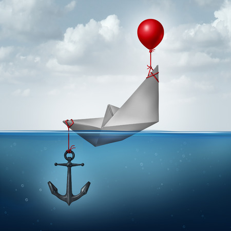 Business decision problem and inefficient strategy concept as a paper boat being lifted and drowned simultaneously as a financial indecision icon with 3D illustration elements.