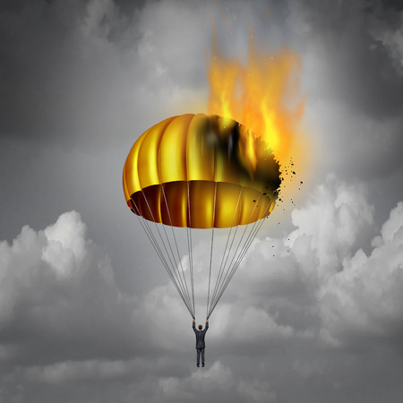 Golden parachute problem concept as a businessman in peril parachuting down with gold landing gear on fire burning down as a business challenge symbol for a company agreement failure with 3D illustration elements.