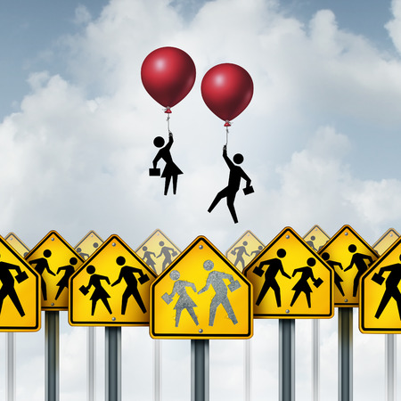 succeeding: Student Success education concept as a group of school pupils on traffic signs with two students rising out of the sign with the support of balloons as a metaphor for succeeding in learning in a 3D illustration style.