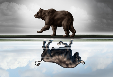 bear market: Positive financial outlook business concept as a bear casting a reflection of a forward moving bull as a hopeful forecast in stock market investing in a 3d illustration style.