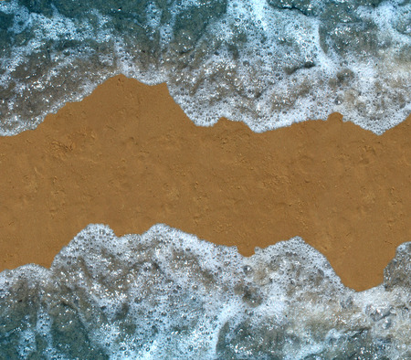 water waves: Beach wave blank background as sand with soft water waves border as an ocean or summer sea design element. Stock Photo