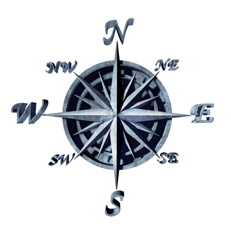 navigation object: Compass icon as a navigation object with north south east and west directions as a 3D illustration symbol for travel direction.