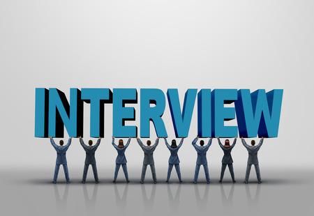simbolo de la mujer: Concepto de negocio de la entrevista y el símbolo de la planificación de carrera como un grupo de hombres y mujeres que levanta encima de un texto ilustración 3D como un símbolo de los recursos humanos y empleo.