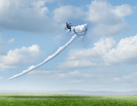 metaphors: Business leadership success metaphor as a businessman riding and controlling a cloud shaped as an upward moving arrow as a symbol for successful management and strategy with 3D illustration elements. Stock Photo
