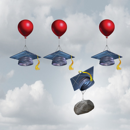 alumni: Education challenge burden and school debt concept as a group of mortarboards or graduate cap being lifted higher with one sinking weighted down by a rock with 3D illustration elements.